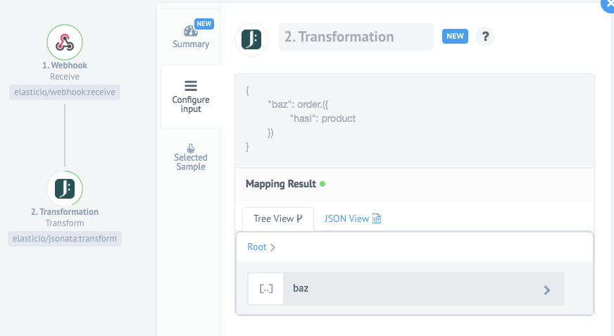 Transformation connector for elastic.io iPaaS